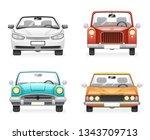 front view retro modern car... | Shutterstock . vector #1343709713