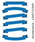 set of blue ribbon banner icon... | Shutterstock .eps vector #1343712569