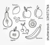 vector set of different fruits... | Shutterstock .eps vector #134371766