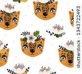 animal print seamless pattern... | Shutterstock .eps vector #1343722493