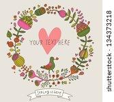 vintage floral card. vector... | Shutterstock .eps vector #134373218