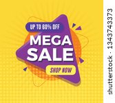 mega sale banner with geometric ... | Shutterstock .eps vector #1343743373