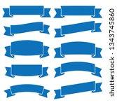 set of blue ribbon banner icon... | Shutterstock .eps vector #1343745860