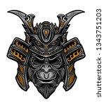 samurai warrior mask vector... | Shutterstock .eps vector #1343751203