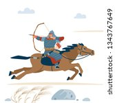 central asian warrior with bow  ...   Shutterstock .eps vector #1343767649