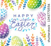 easter greeting card with color ... | Shutterstock .eps vector #1343770556
