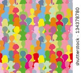 colorful crowd  seamless... | Shutterstock .eps vector #134378780