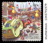 australia   circa 2013  a stamp ...   Shutterstock . vector #1343792579