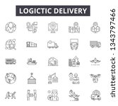logistic delivery line icons... | Shutterstock .eps vector #1343797466