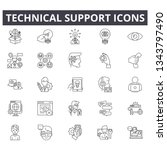 technical support line icons... | Shutterstock .eps vector #1343797490