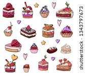 cakes  cakes  baskets  desserts ... | Shutterstock .eps vector #1343797673