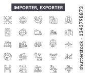 Importer Exporter Line Icons...