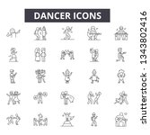 dancer line icons for web and... | Shutterstock .eps vector #1343802416