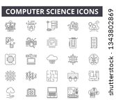 computer science line icons for ... | Shutterstock .eps vector #1343802869