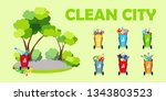 clean city. ecology. baskets... | Shutterstock .eps vector #1343803523