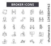 broker line icons for web and... | Shutterstock .eps vector #1343804963