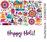 happy holi vector elements for... | Shutterstock .eps vector #1343805740