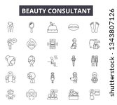 beauty consultant line icons... | Shutterstock .eps vector #1343807126