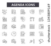 agenda line icons. editable... | Shutterstock .eps vector #1343809169