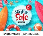 summer sale vector banner... | Shutterstock .eps vector #1343822333