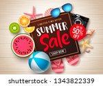 summer sale vector banner... | Shutterstock .eps vector #1343822339