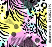 animal print vector seamless... | Shutterstock .eps vector #1343823590