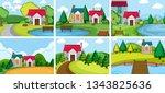set rural village house... | Shutterstock .eps vector #1343825636