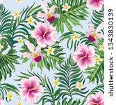 tropical vector seamless... | Shutterstock .eps vector #1343830139