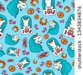 cute unicorn seamless pattern....   Shutterstock . vector #1343834876