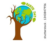 planet earth on a tree. earth... | Shutterstock .eps vector #1343847956