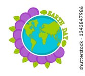 planet earth on a blossom... | Shutterstock .eps vector #1343847986