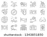 travel icon set. travel related ... | Shutterstock . vector #1343851850