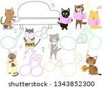 cat concert illustration. cats... | Shutterstock .eps vector #1343852300