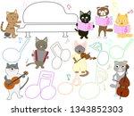 cat concert illustration. cats... | Shutterstock .eps vector #1343852303
