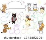 cat concert illustration. cats... | Shutterstock .eps vector #1343852306