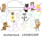 cat concert illustration. cats... | Shutterstock .eps vector #1343852309