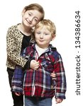young boy and girl smiling on... | Shutterstock . vector #134386634