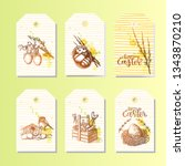 big set of happy easter tags.... | Shutterstock .eps vector #1343870210