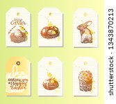 big set of happy easter tags.... | Shutterstock .eps vector #1343870213
