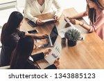 businesswoman in group meeting... | Shutterstock . vector #1343885123