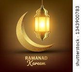 ramadan kareem greeting card .... | Shutterstock . vector #1343900783