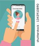 online dating app concept. male ... | Shutterstock .eps vector #1343910890