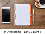 office desk table with computer ... | Shutterstock . vector #1343916956