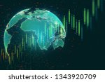 creative forex chart with globe ...   Shutterstock . vector #1343920709