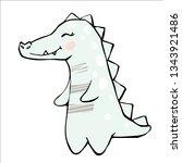 crocodile baby girl cute print. ... | Shutterstock .eps vector #1343921486
