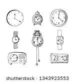 set of doodle sketch watches.... | Shutterstock .eps vector #1343923553