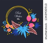wreath. vector floral... | Shutterstock .eps vector #1343930513