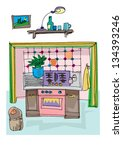 vintage kitchen   cartoon | Shutterstock .eps vector #134393246