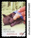australia   circa 2010  a stamp ... | Shutterstock . vector #1343934680