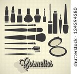 vector set  vintage make up... | Shutterstock .eps vector #134394380